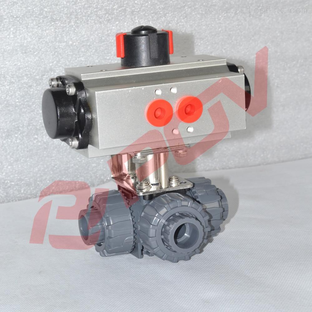 q684f-16p 塑料pvc气动三通球阀图片