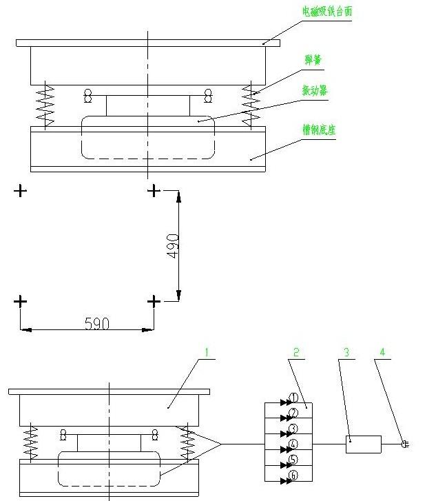 混凝土磁力振动台电气接线图